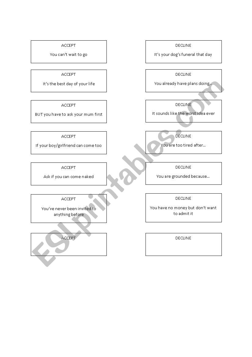 Making and Accepting Invitations Role Play Activity - ESL worksheet by LivinBarna