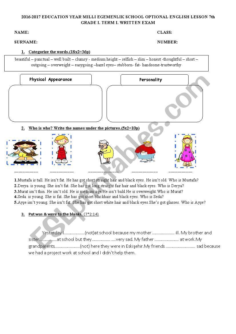 7th grade worksheet - ESL worksheet by scentent