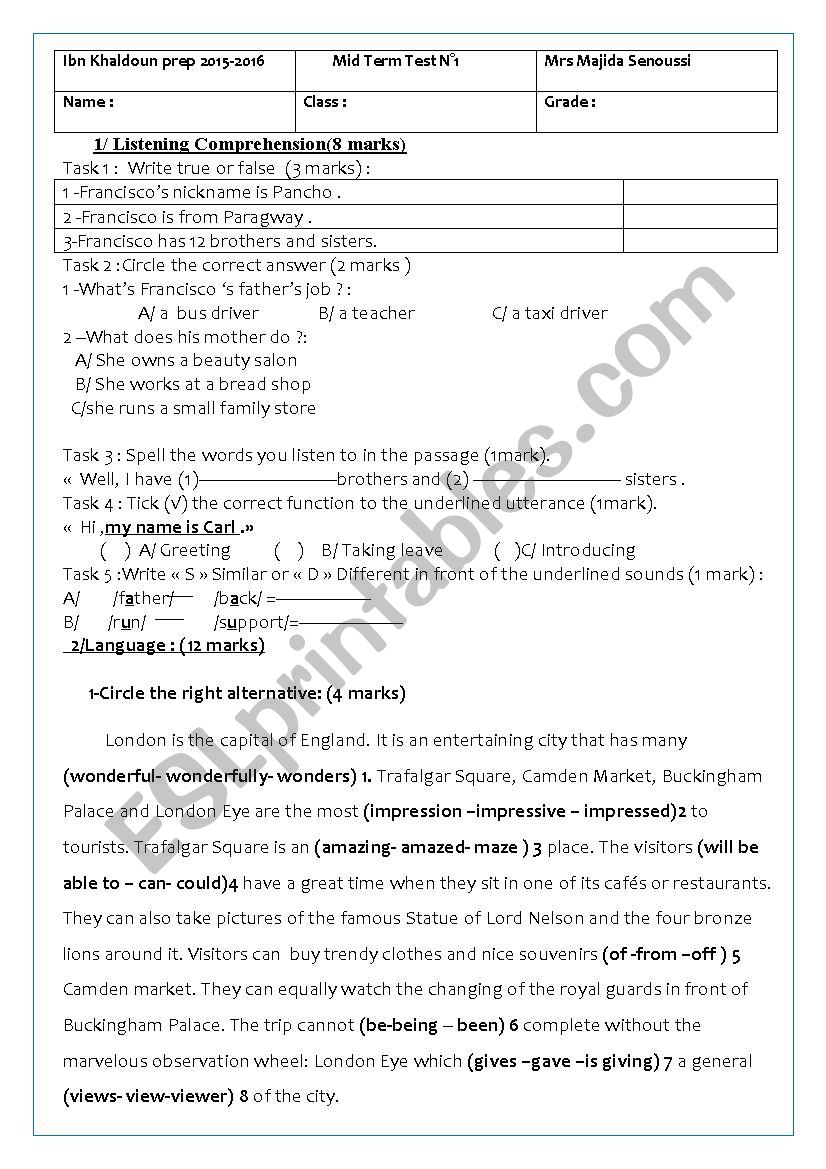 8th form mid semester test1 worksheet
