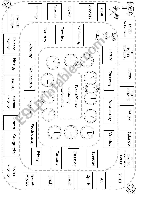 SCHOOL TIMETABLE BOARD GAME worksheet