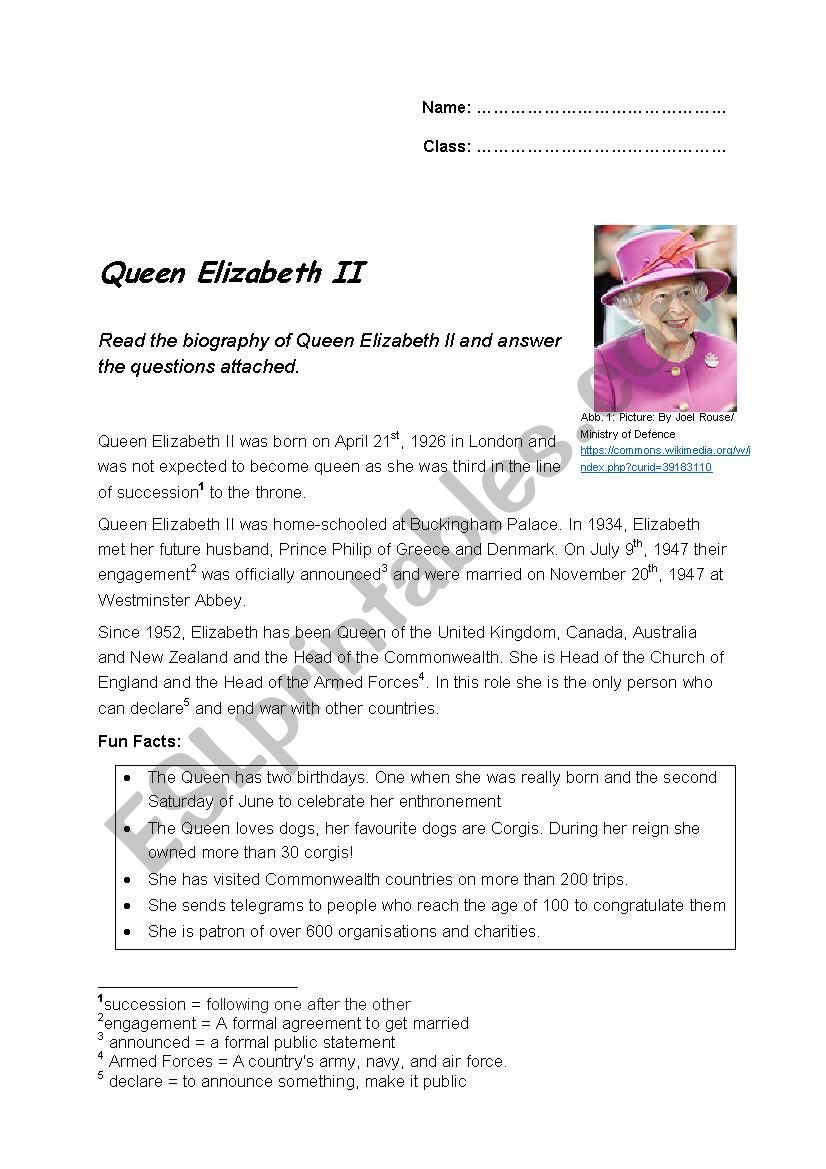 889742_1-Queen_Elizabeth_II_ Queen Worksheet For Pre on prefixes re, writing shapes, printable letter, tracing shapes, grade printable, algebra fractions, printable matching,