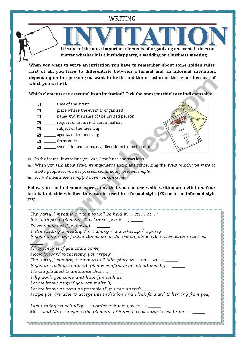 WRITING - INVITATION worksheet