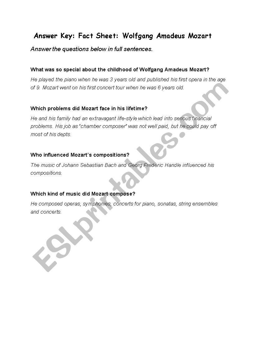 Wolfgang Amadeus Mozart - ESL worksheet by sch716