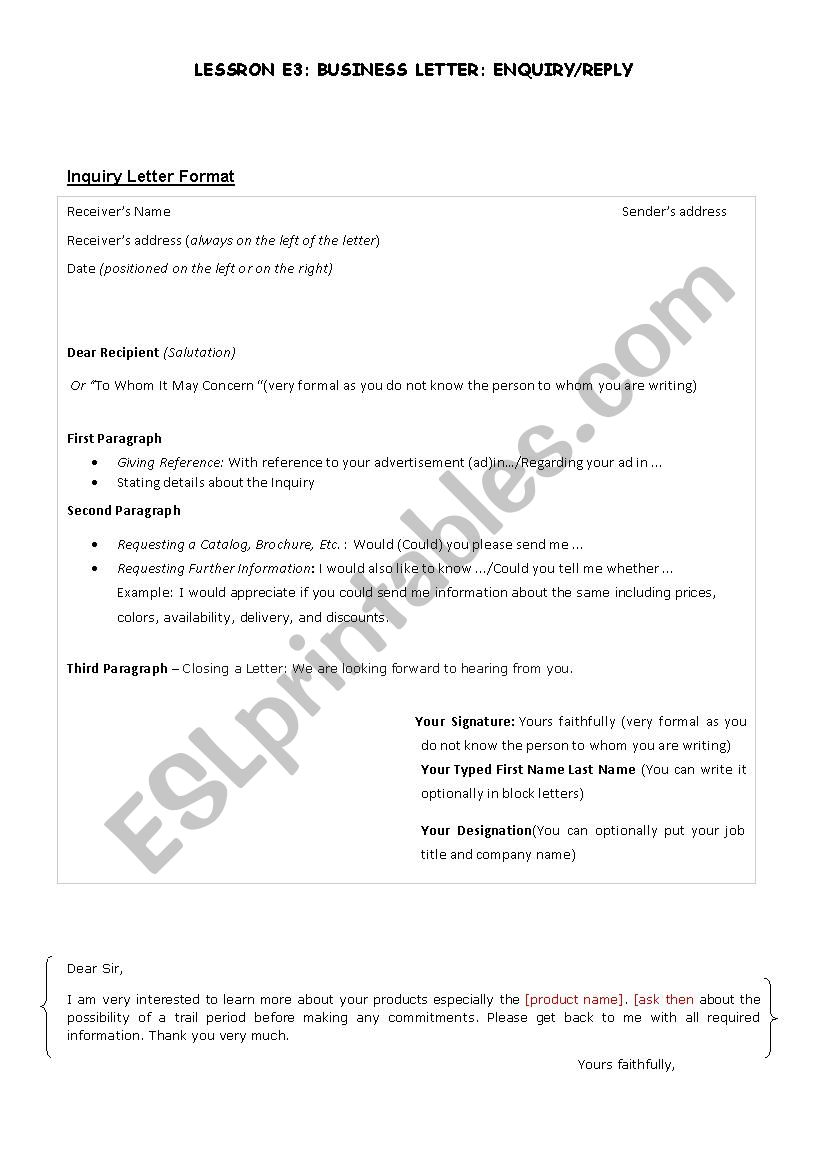 Business letter: Inquiry/Reply - ESL worksheet by Saharsahar