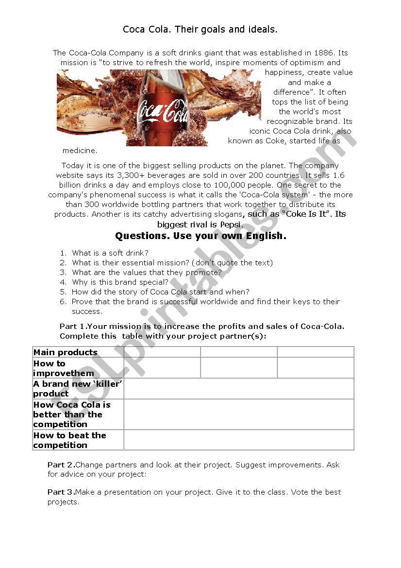 Coca Cola worksheet