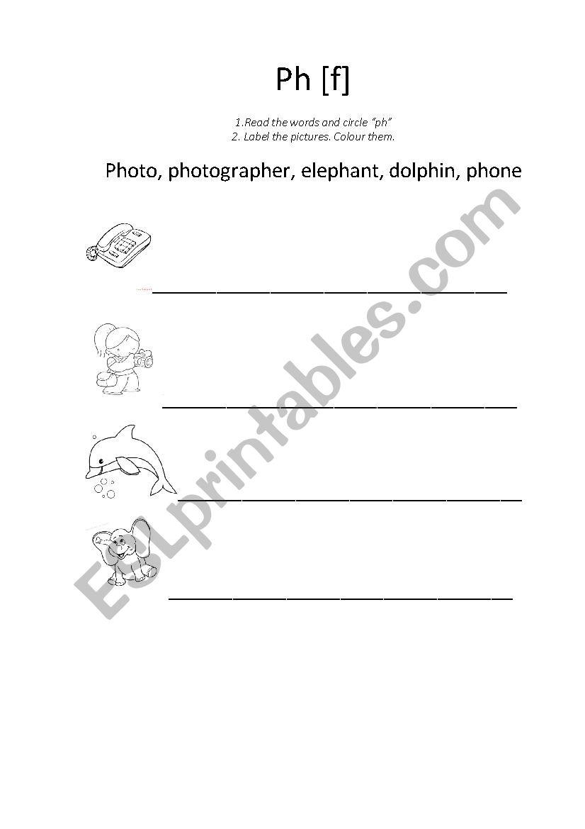 """ph"" worksheet - ESL worksheet by Dina H"