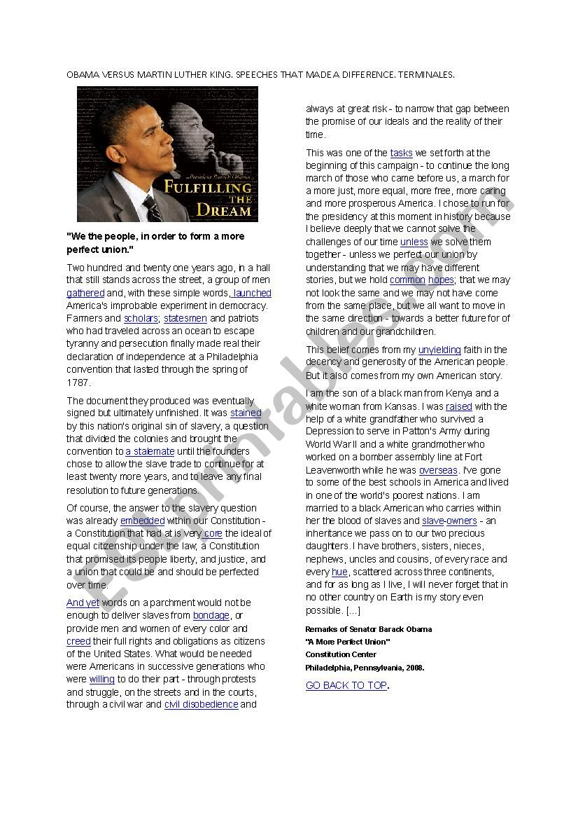 Obama´s speech versus Martin Luther King I have a dream