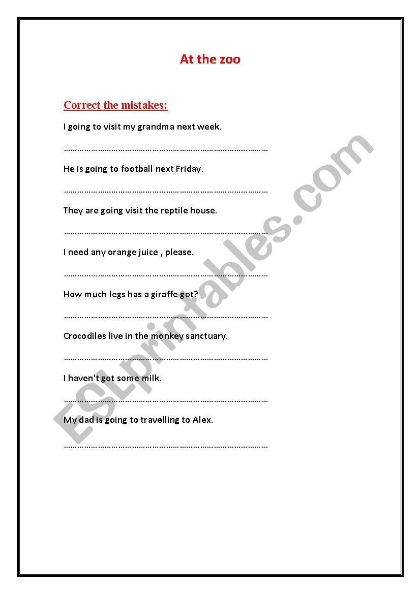I´m going to the zoo worksheet