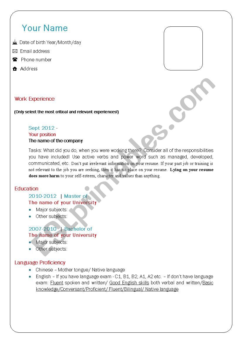 How to write a CV in English? worksheet