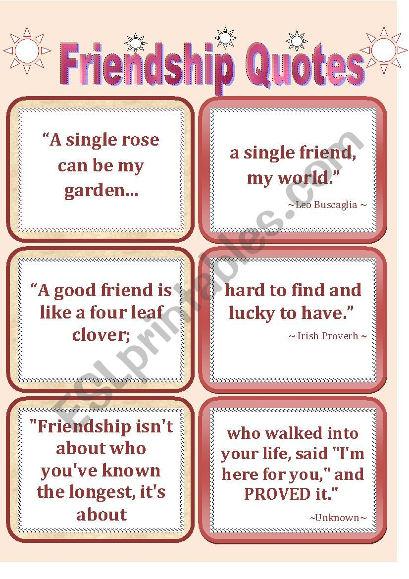 Quotes-2  FRIENDSHIP QUOTES worksheet