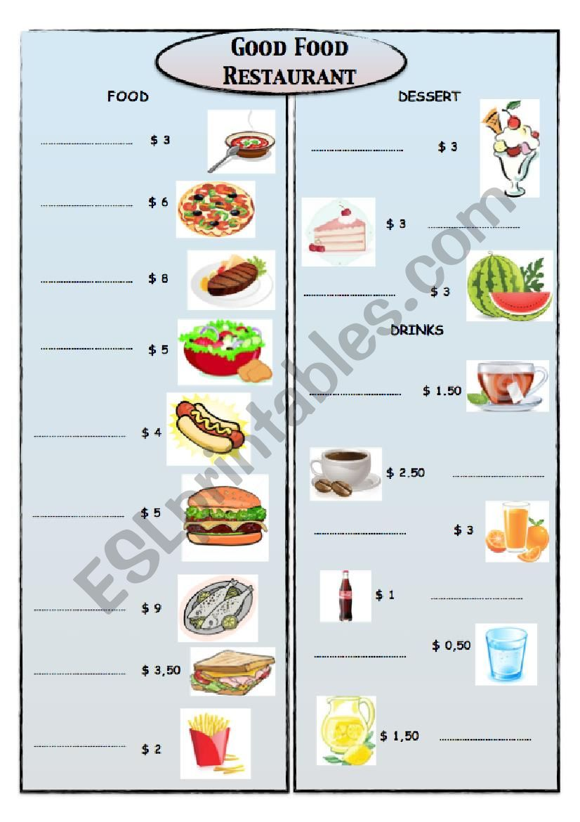 Good Food Restaurant 1 MENU worksheet
