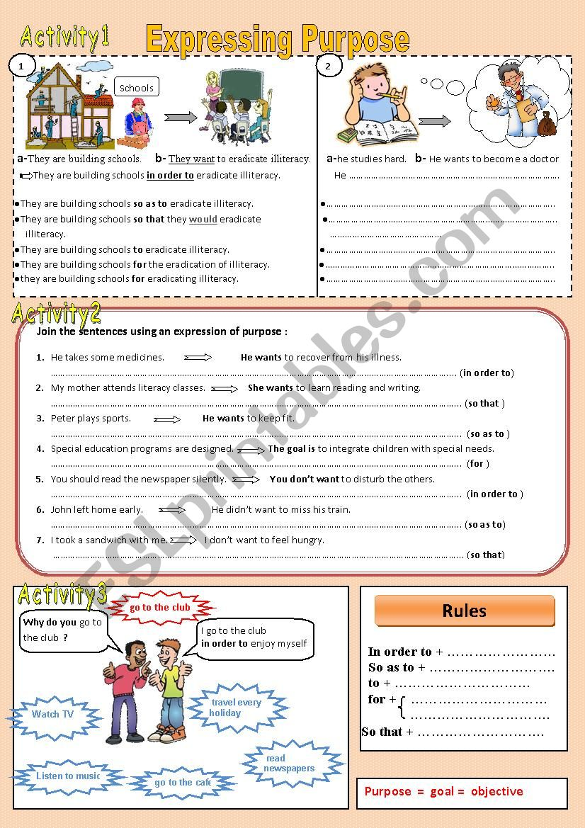 Expressing Purpose worksheet