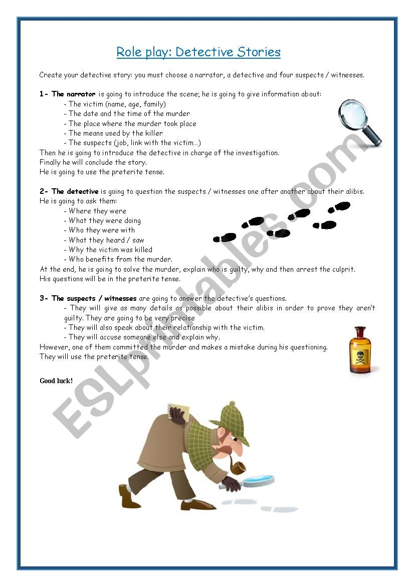 Role play: Detective stories worksheet