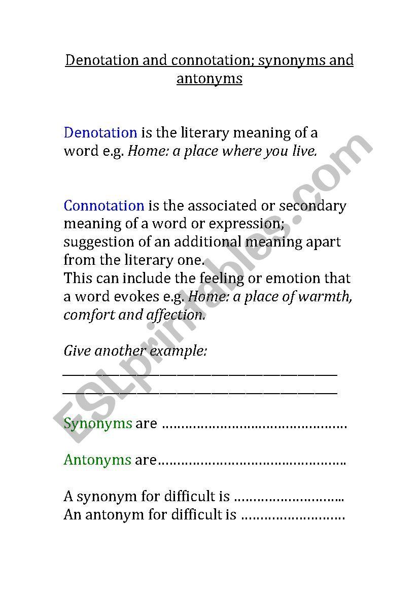 Denotation And Connotation ESL Worksheet By Fpistemummy