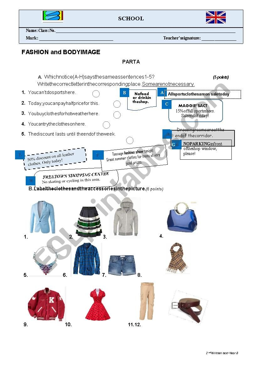 FASHION AND BODY IMAGE - TEST worksheet