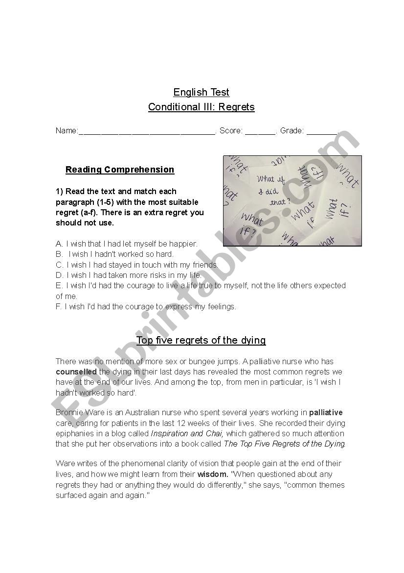 Reading comprehension: Regrets from the dying (conditional 3)