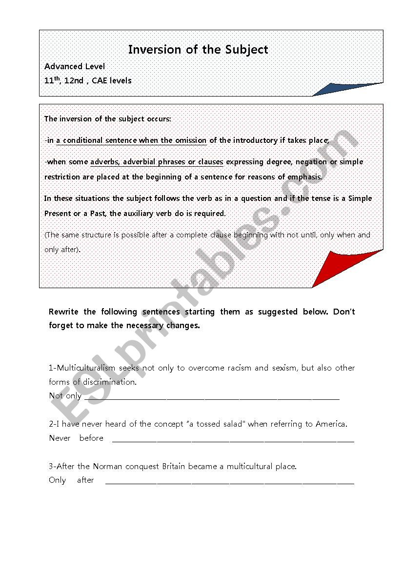 INVERSION OF SUBJECT worksheet