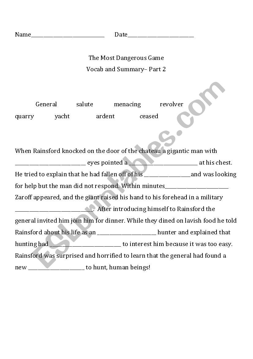 English worksheets: THE MOST DANGEROUS GAME VOCAB CLOZE AND SUMMARY ...