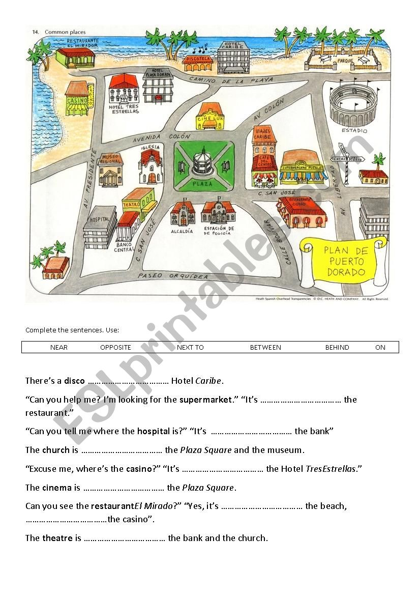 Prepositions of place - the map of the city - ESL worksheet by m4rtk4