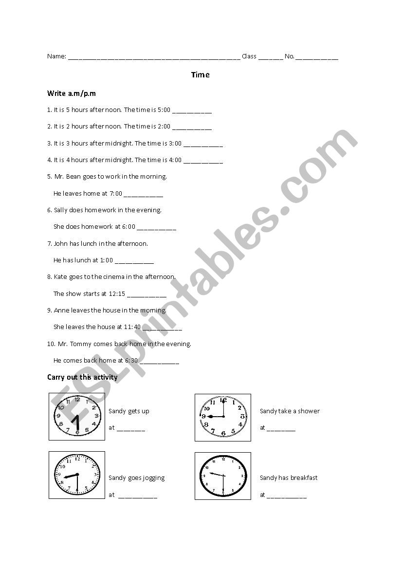 time am pm esl worksheet by masterthao829. Black Bedroom Furniture Sets. Home Design Ideas