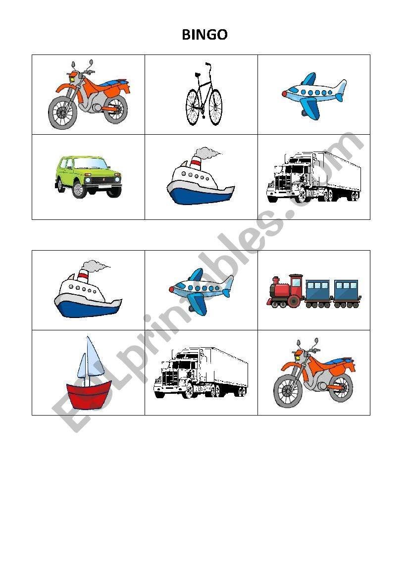 BINGO - means of transport worksheet