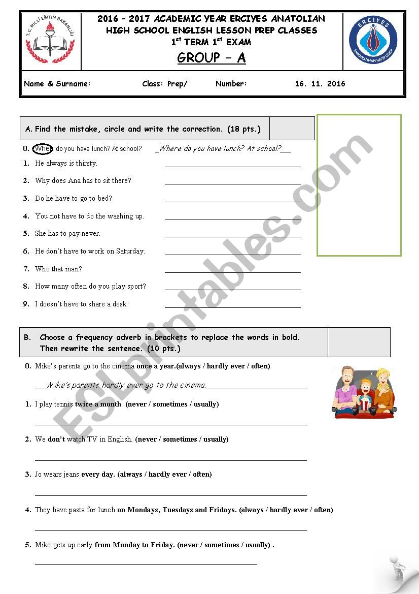 exam paper for the prep classes - ESL worksheet by torque