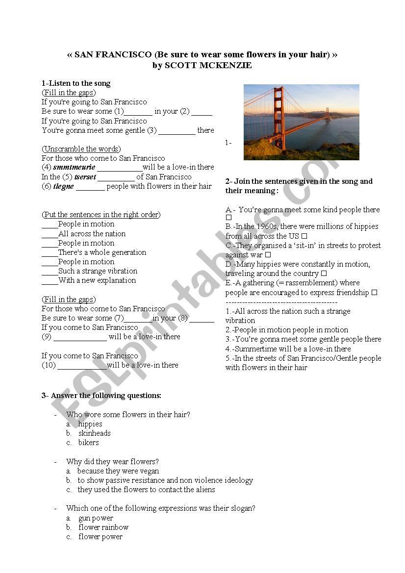 San Francisco song worksheet