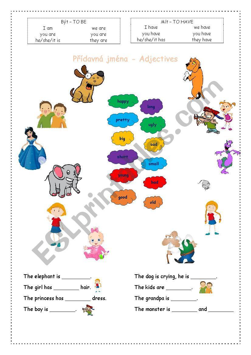 Basic adjectives for kids - ESL worksheet by Itoka