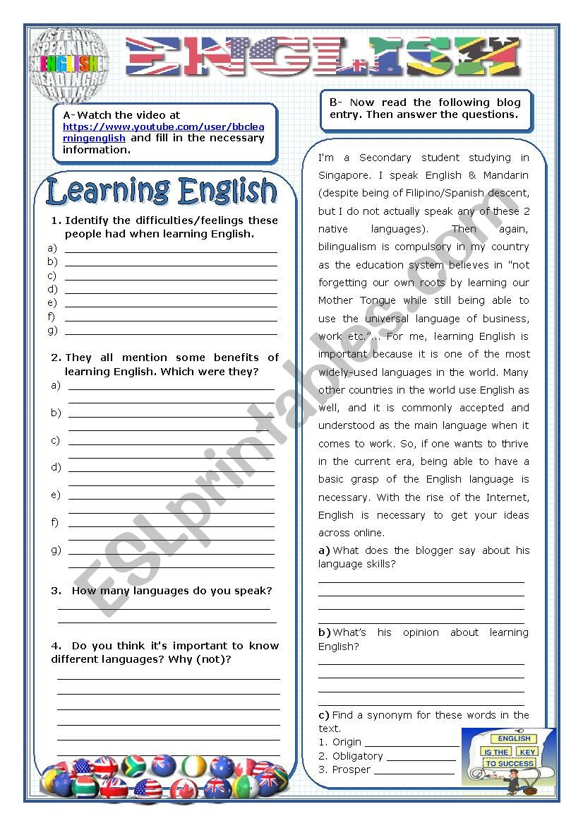 English - Learning English: difficulties and benefits - ESL ...