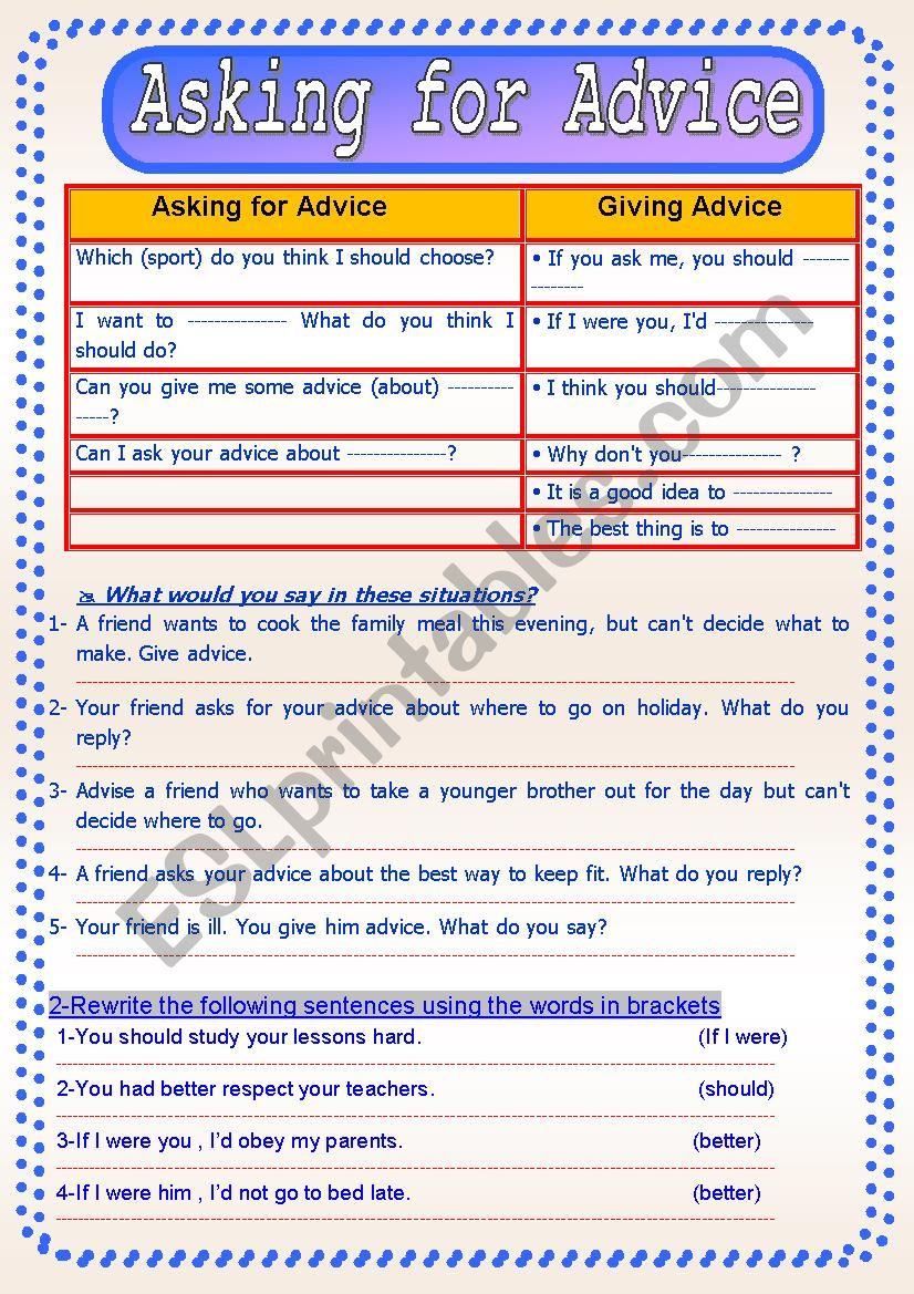 Asking for Advice worksheet