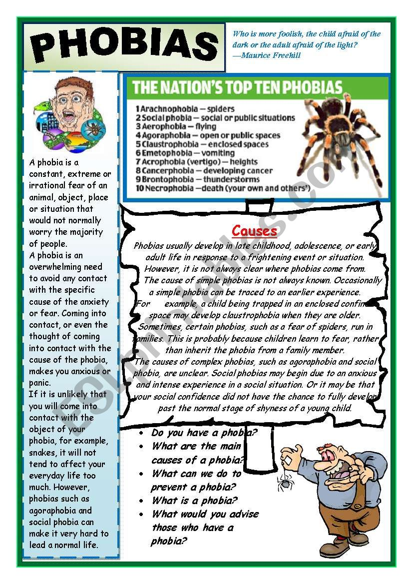 WHAT PHOBIA DO YOU HAVE?  worksheet