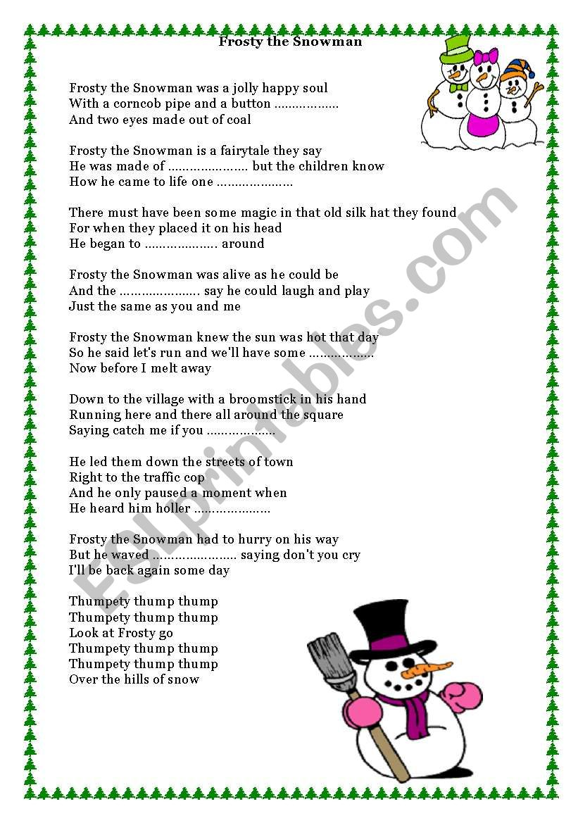 Song - Frosty the Snowman worksheet