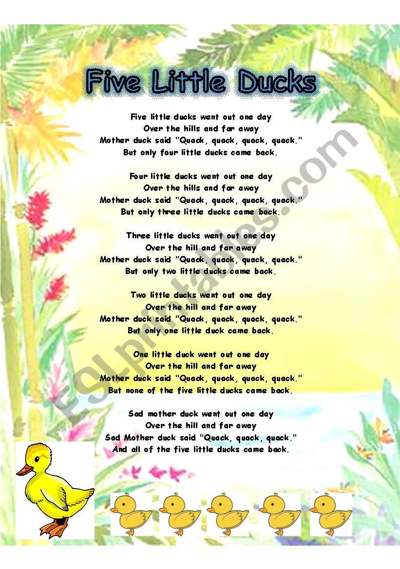 FIVE LITTLE DUCKS PART 1 - SONG LYRICS AND FLASHCARD OF MOTHER DUCK