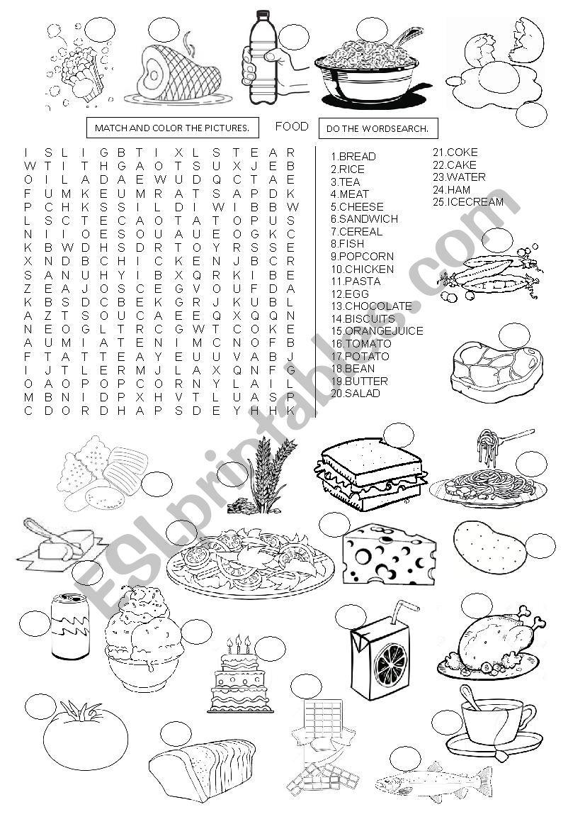 FOOD - WORDSEARCH worksheet