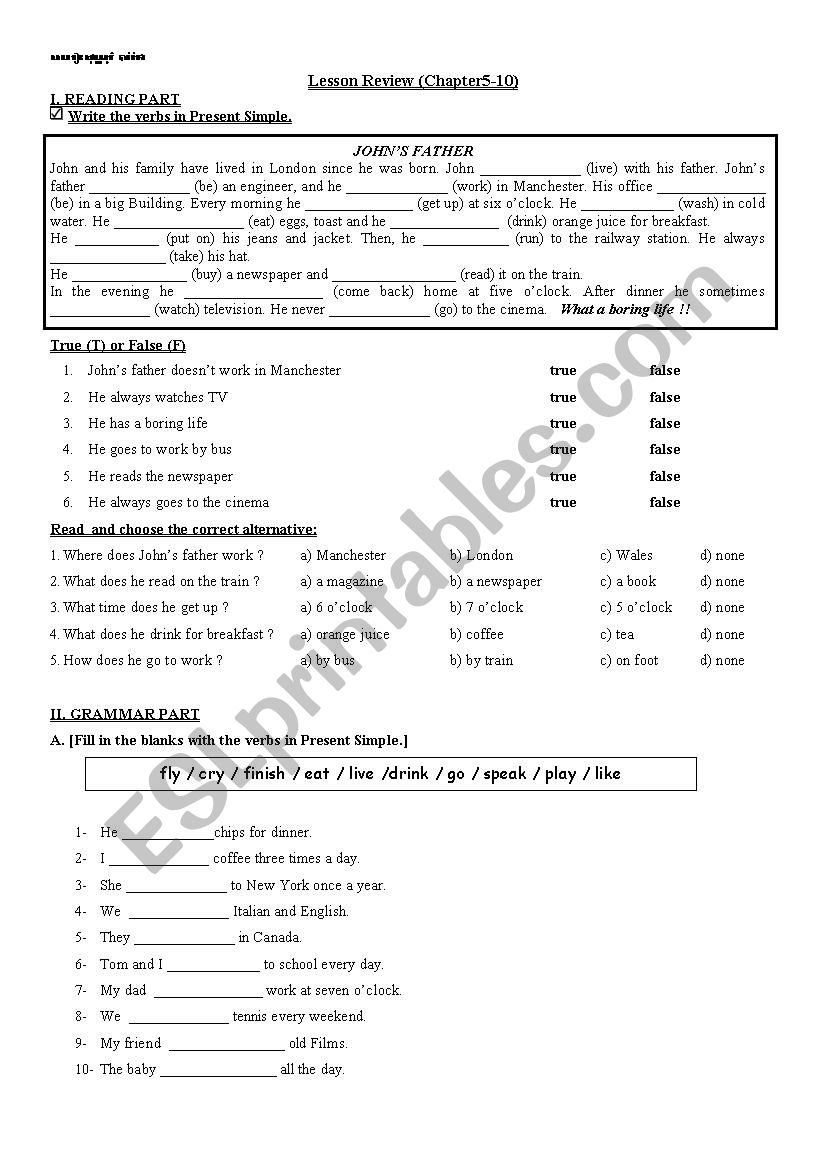lesson review worksheet