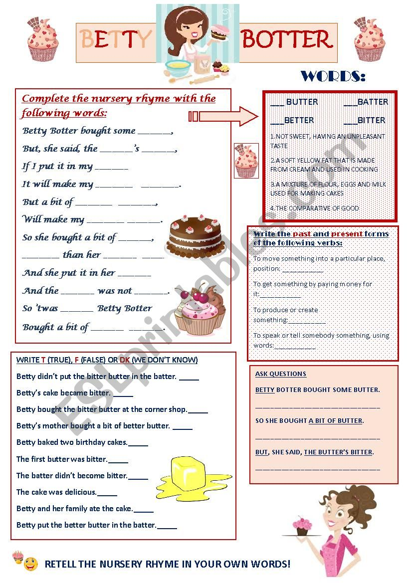 Betty Botter - Nursery Rhyme worksheet