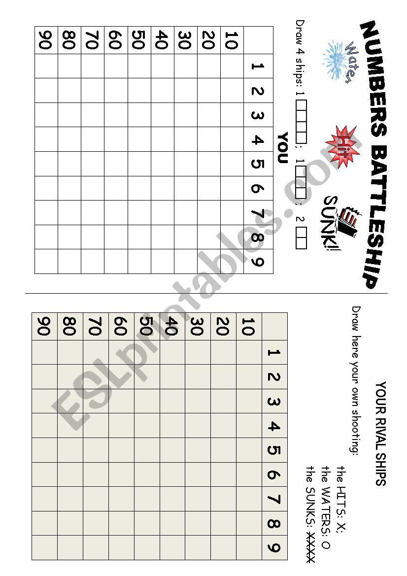 NUMBERS BATTLESHIP worksheet