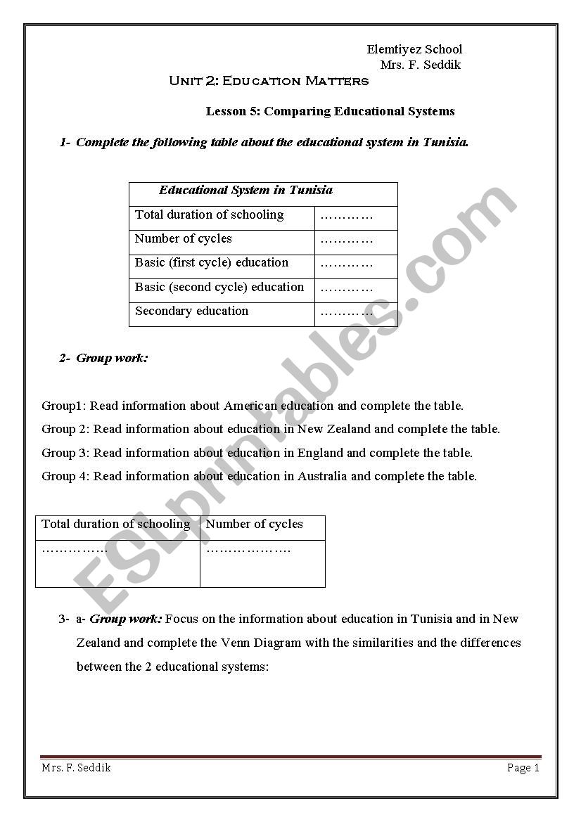 comparing educational systems worksheet