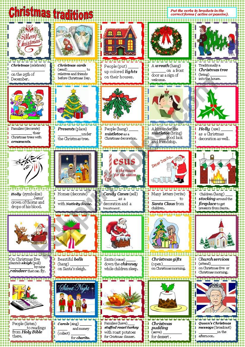 Cristmas traditions worksheet