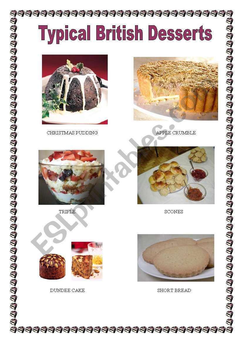 Typical British Desserts worksheet