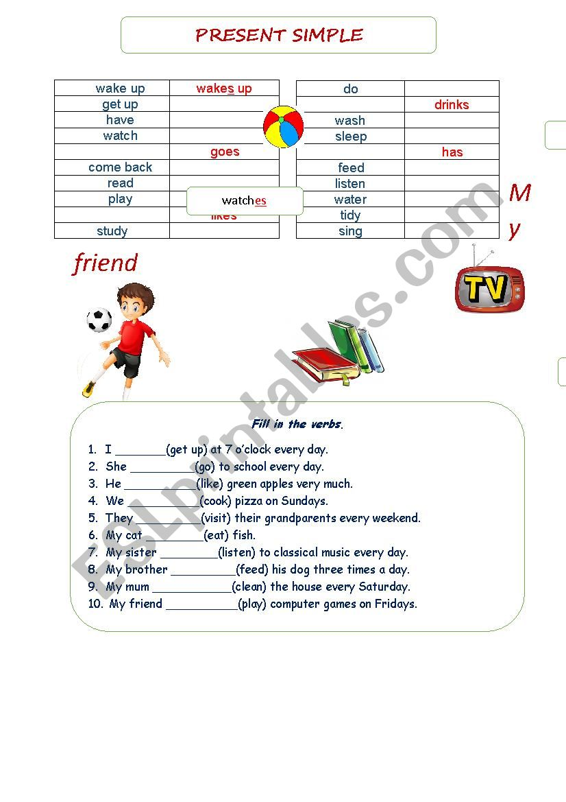 Present Simple Affirmative worksheet