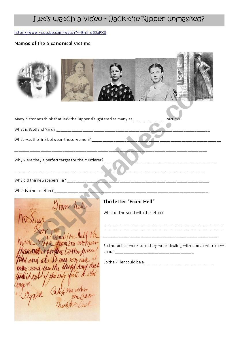 Jack the Ripper unmasked worksheet