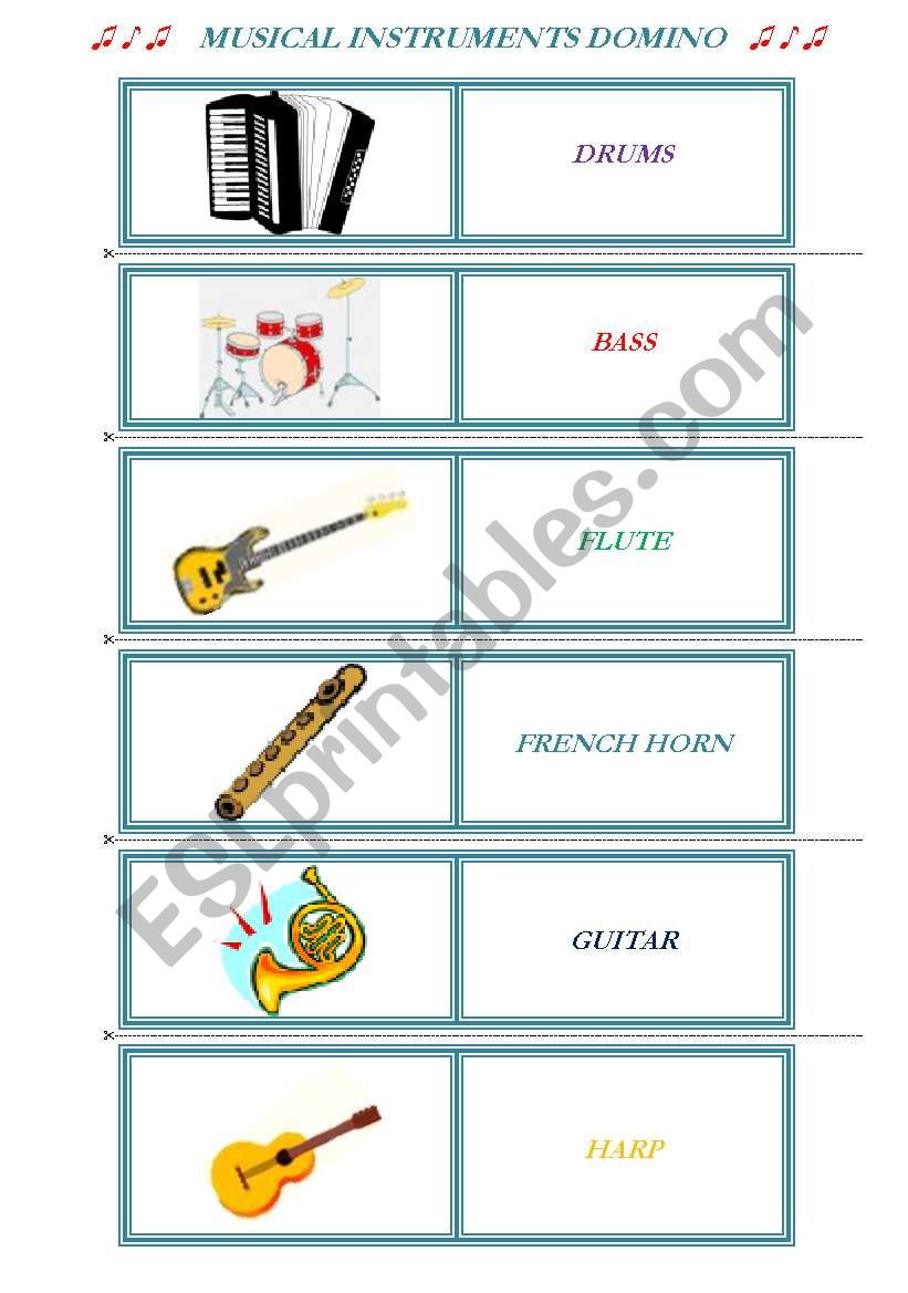 MUSICAL INSTRUMENTS DOMINO - ESL worksheet by Daffodil