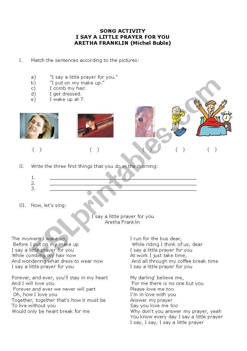 Daily activity worksheet