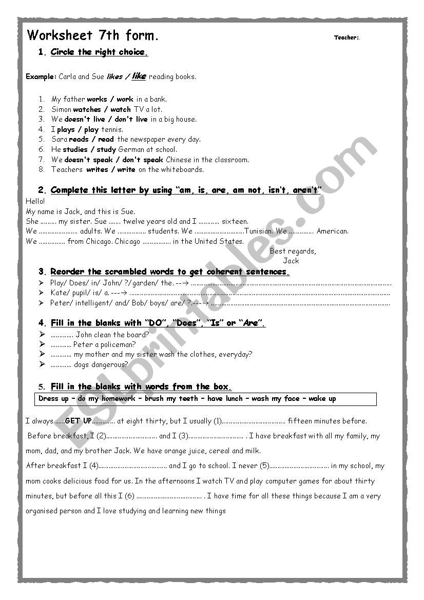 English Worksheets 7th Form Worksheet Simple Present To Be