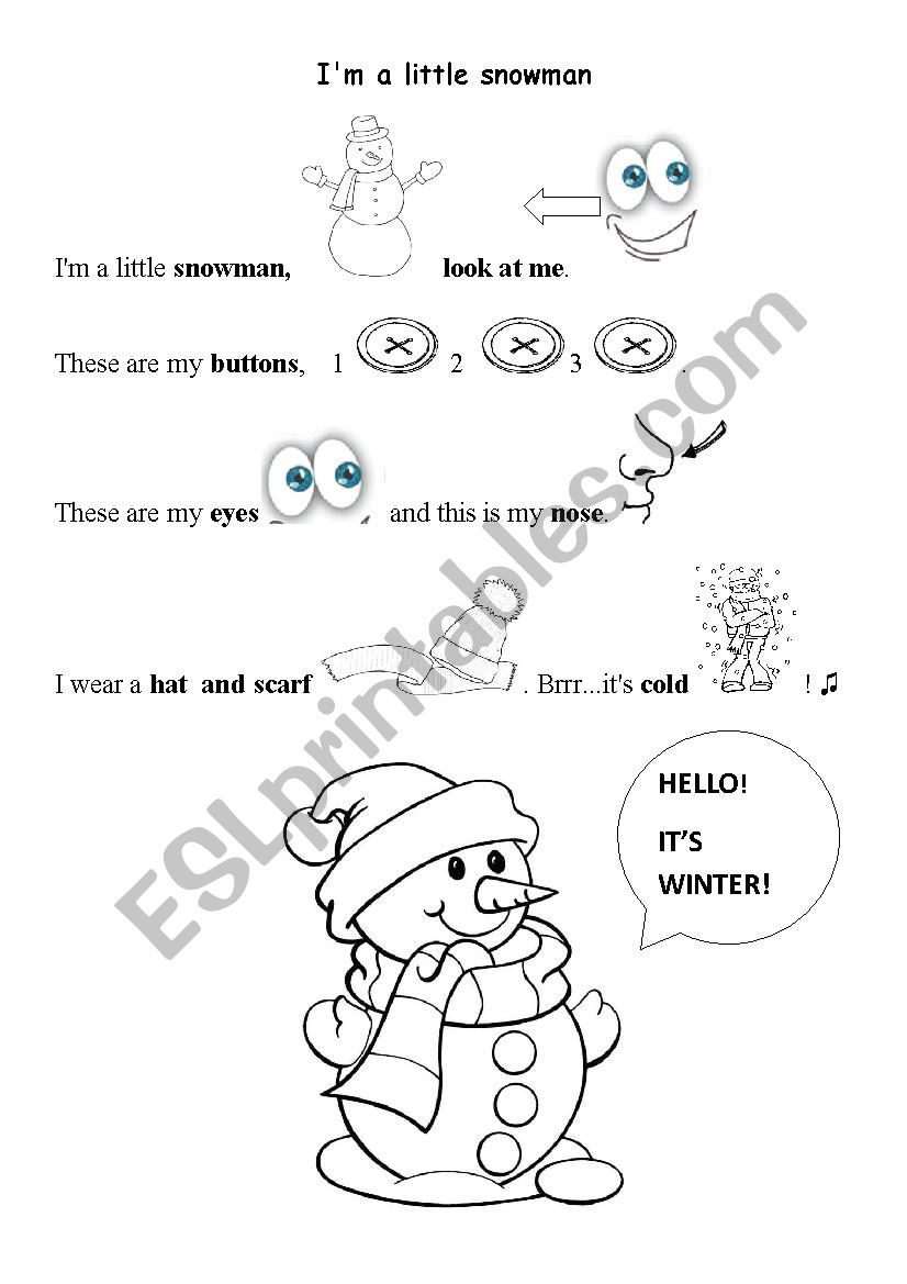 This is an image of Chubby Little Snowman Poem Printable intended for 9 year old