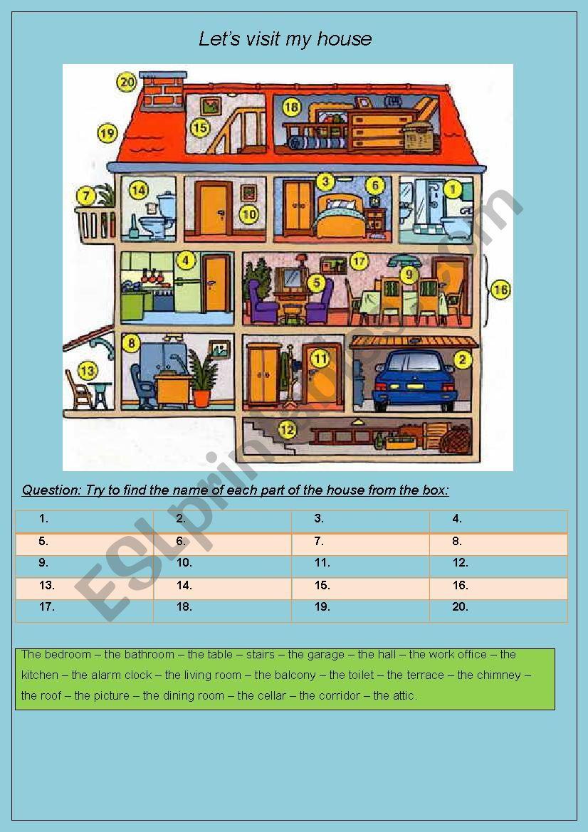 Let´s visit my house worksheet