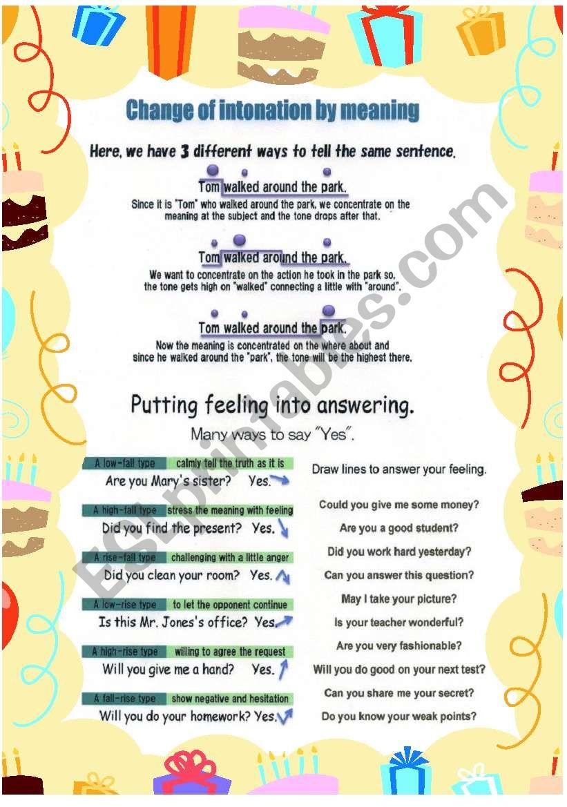 Practice intonation part2 worksheet
