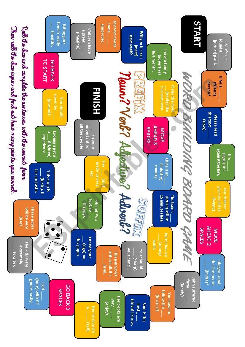 Word building game  worksheet