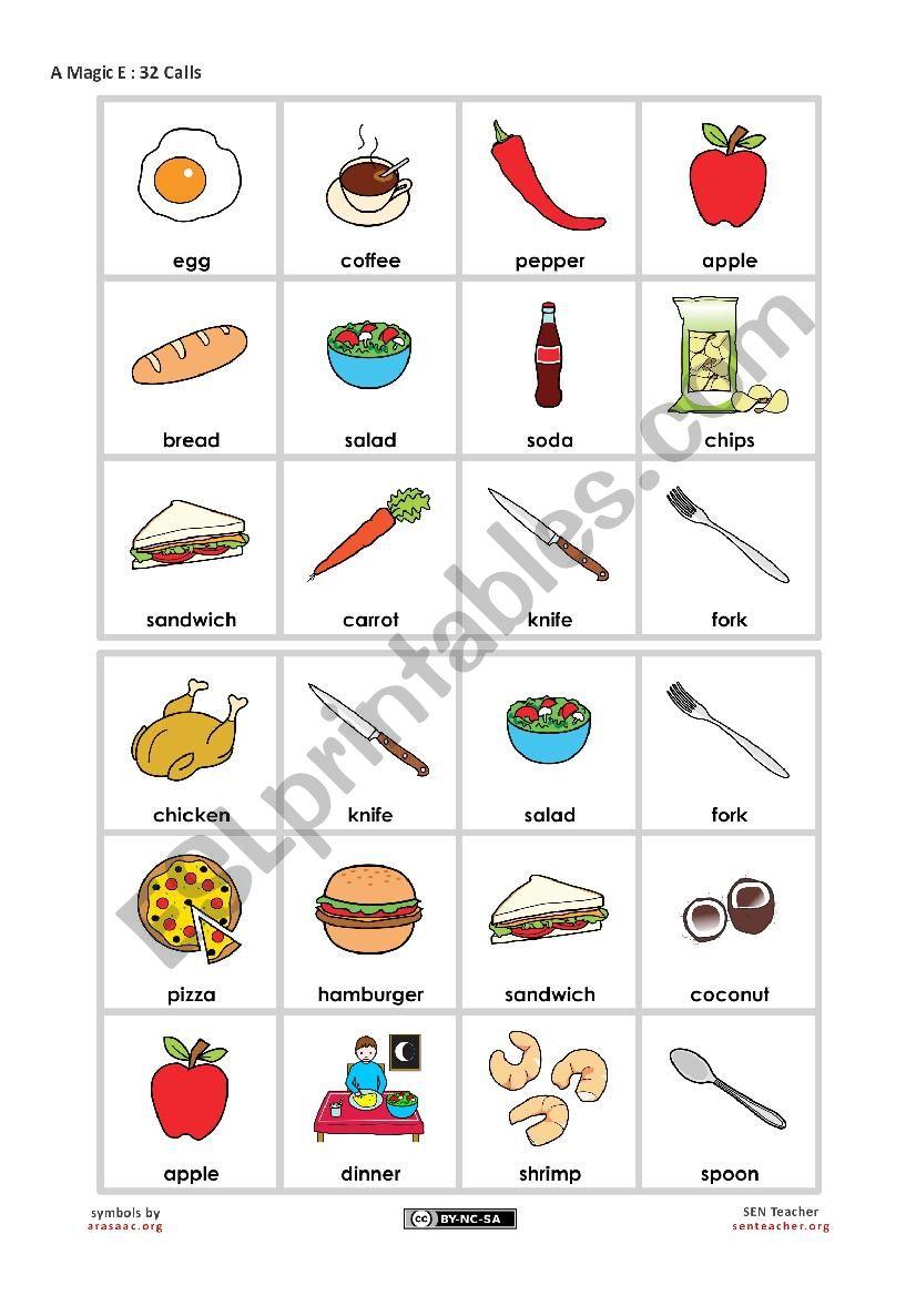 Food Bingo - Beginner worksheet